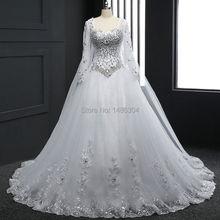 ** 2016年白色蕾絲長袖水晶新娘禮服