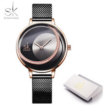 Shengke Rosegold, черный сетчатый ремешок, женские часы, креативный Кристальный циферблат, дизайн, роскошный Дамский кварцевый механизм, Relogio Feminino(Китай)