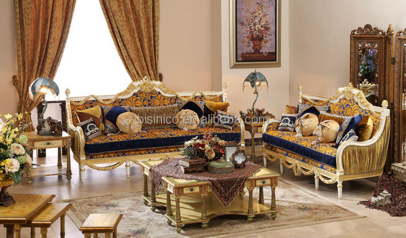 Luxury Gold Painting Sofa Set Classical Hand Carved Wooden