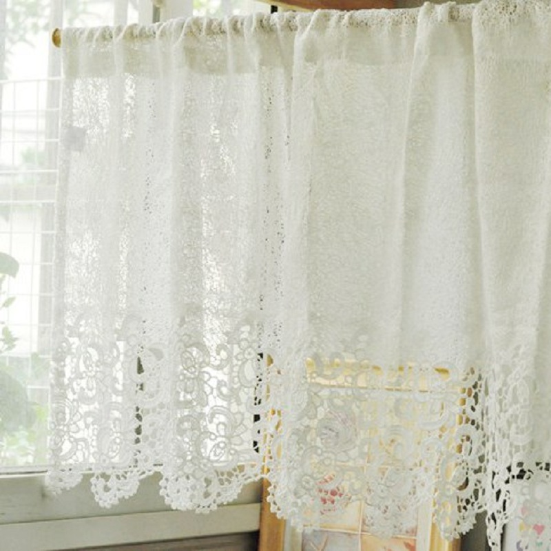 Beautiful Kitchen Curtains: Free Shipping Soluble Reticulocyte Lace Beautiful Coffee