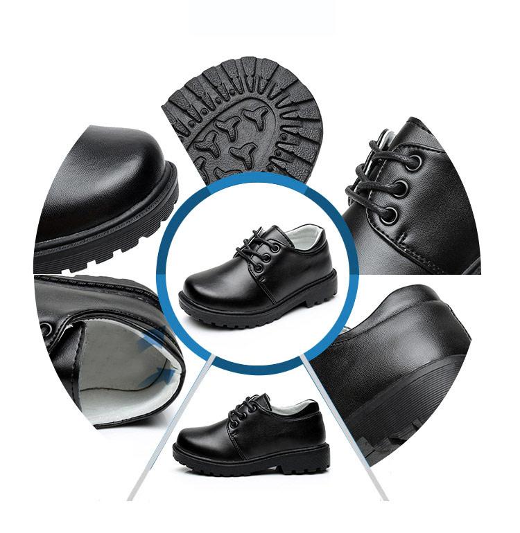 Wholesale customized black school children student uniform dress genuine leather shoes for kids