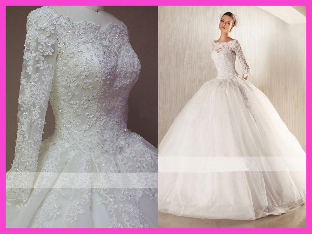 Lace Ball Gown Wedding Dresses: 2015 Winter Ball Gown Floor Length Beaded Lace Long Sleeve
