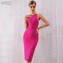 Женское Бандажное платье ADYCE, розовое красное Клубное платье на бретельках, вечерние платья на одно плечо, лето 2020(Китай)