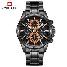 Топ люксовый бренд NAVIFORCE Мужские часы мужские синие из нержавеющей стали Кварцевые наручные часы для деловых людей 24 часы с датой Relogio Masculino(China)