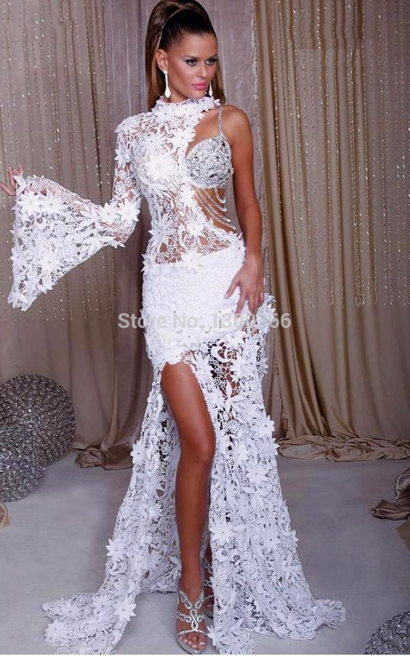 lace with White prom sleeves dress