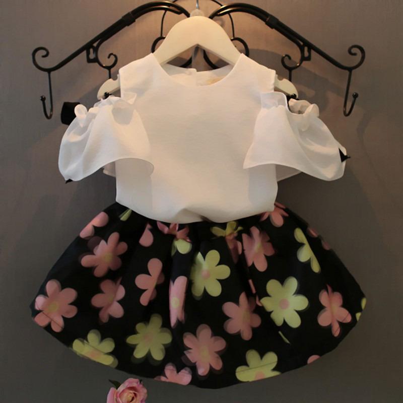 dd398d71c Wholesale- 2Pcs Sets Baby Kids Girls Clothes Summer Dress Chiffon Blouse  Tops + Floral Skirt Outfits Suit 2-7Y Children clothing