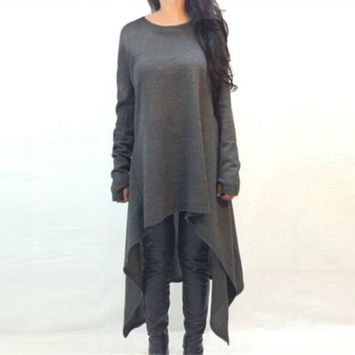 fashion autumn knitted dress women o neck full sleeve long maxi sweater dress loose casual solid. Black Bedroom Furniture Sets. Home Design Ideas