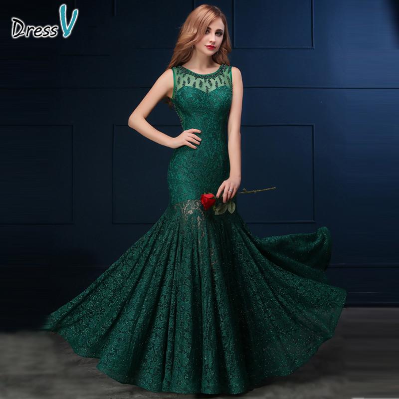 Dressv dark green lace mermaid/trumpet long evening dress ...