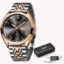 Женские наручные часы LIGE, Роскошные водонепроницаемые золотые кварцевые часы из нержавеющей стали, Подарочные часы для свиданий, 2019(China)