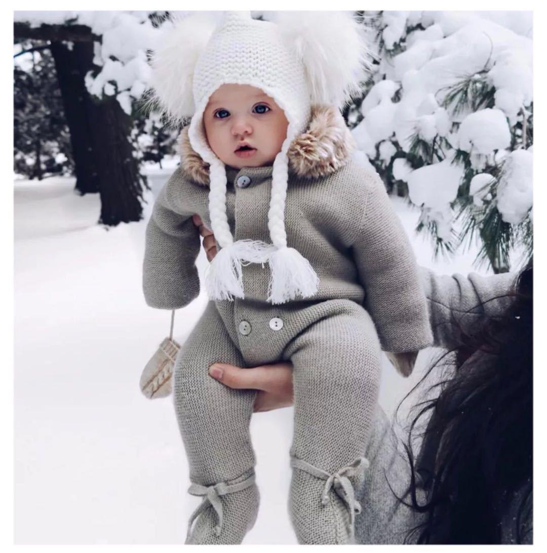 Однобортный комбинезон с капюшоном для новорожденных ...