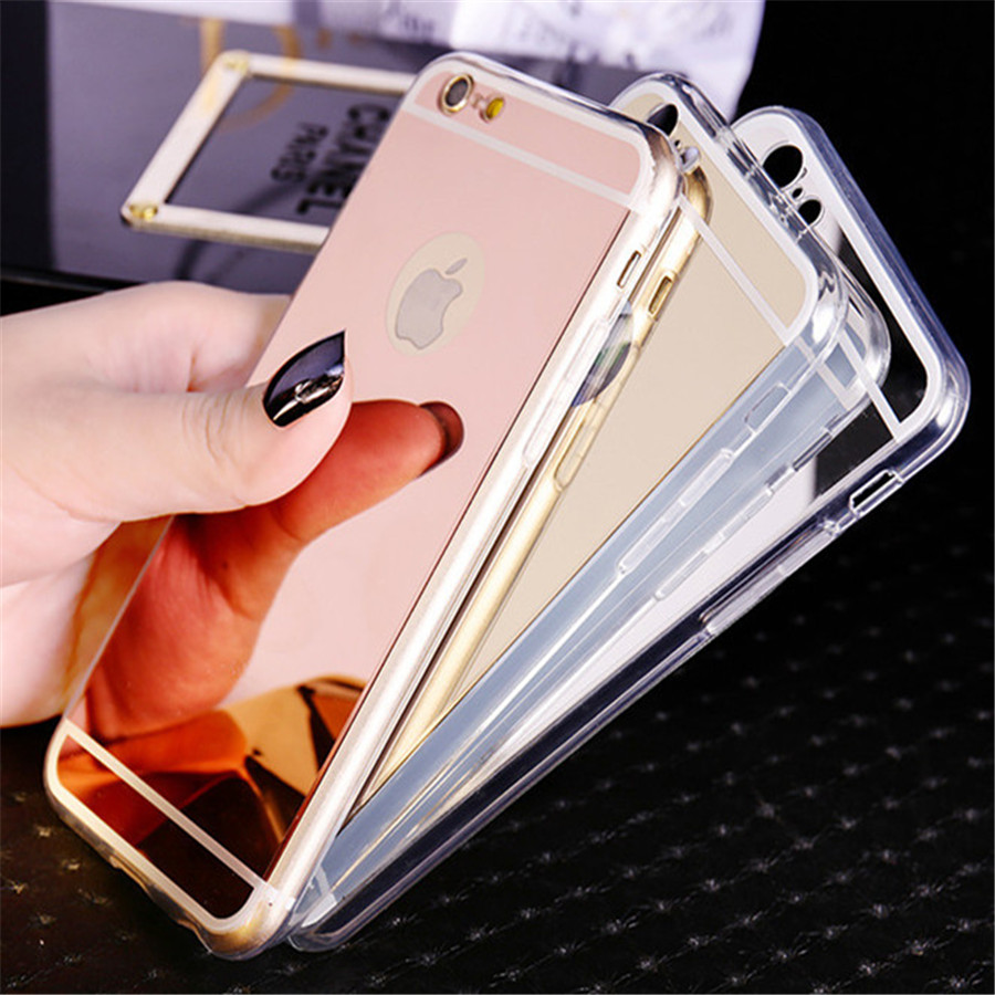 new rose gold luxury mirror soft clear tpu case for iphone 6 6s 7 4 7 inch iphone6 7 plus 5 5. Black Bedroom Furniture Sets. Home Design Ideas