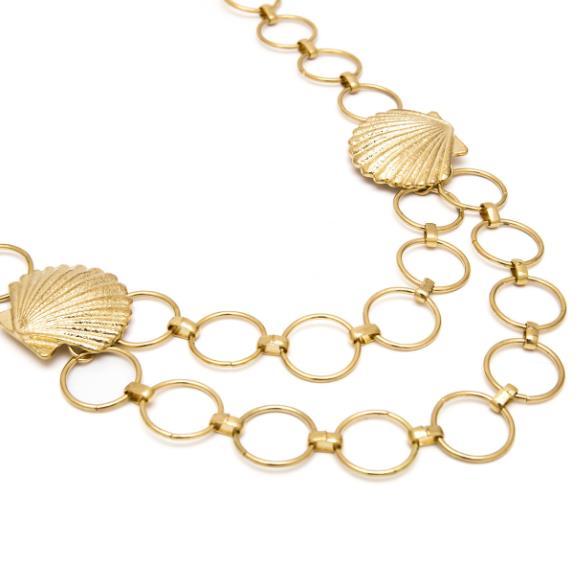 Винтажный молотковый золотой круглый корпус звеньевой цепи ремень