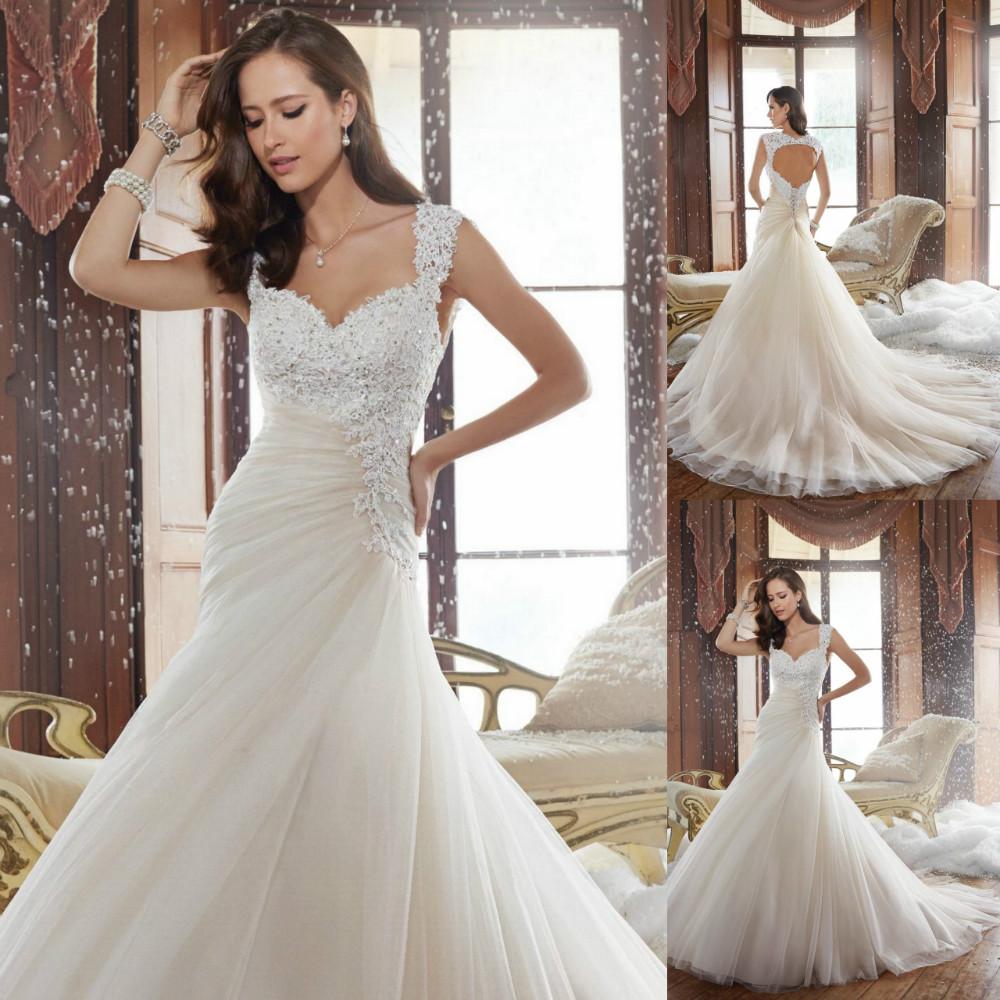 Beautiful Long Wedding Dress 2015 Beaded Open Back Lace ...