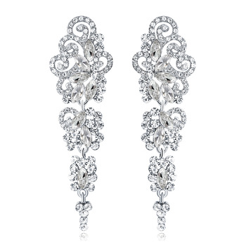 Long Style Sterling Silver Plated Crystal Rhinestone Drop Earrings Newest Crystal Wedding Drop Earrings For Bridal