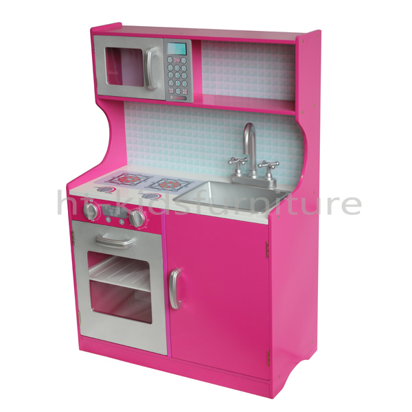Ht Dk008 E1 Mdf Easy Assembly Dark Pink Wooden Kitchen Toy For Kids Above 3 Years Old Doll Kitchen With Sink And Faucet Buy Kitchen Toy Mini Kitchen Set Toy Children S Kitchen Toy Product On