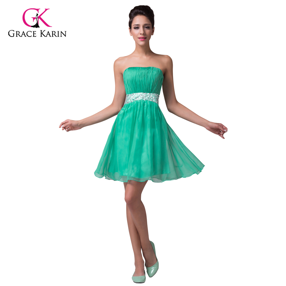 Grace Karin Princess Chiffon Cheap Short Green Bridesmaid