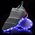 7 Colors Luminous Shoes Fluorescent Kids Sneakers USB LED Glow Shoe Light UP Shoes for Adults