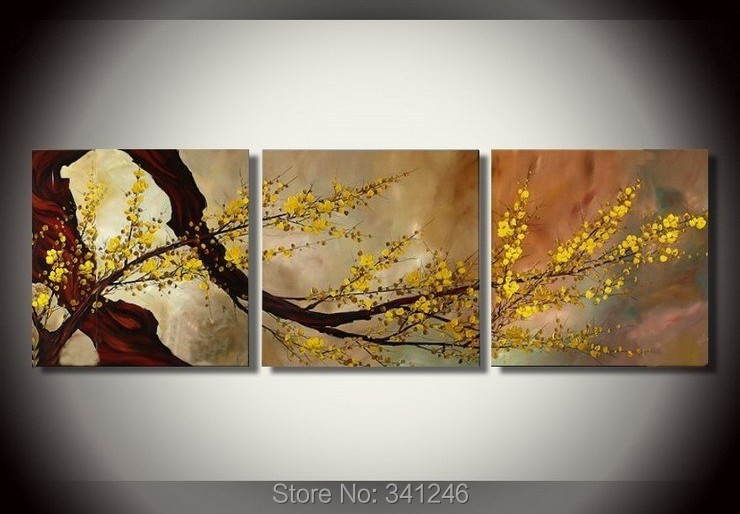 Free shipping Hand-Painted Modern home decor Abstract wall art picture yellow plum blossom canvas art oil Painting on canvas