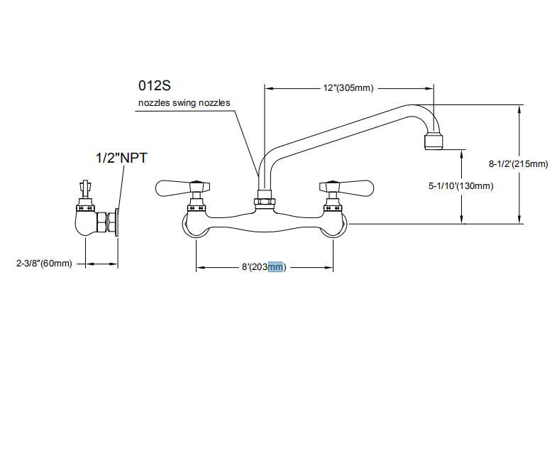2021 Горячая продажа кухонные Faucer с Настенный кладовая сопло качели кран 8700-12 кран с двойной ручкой, латунный 3 лет промышленной топ-Промыть