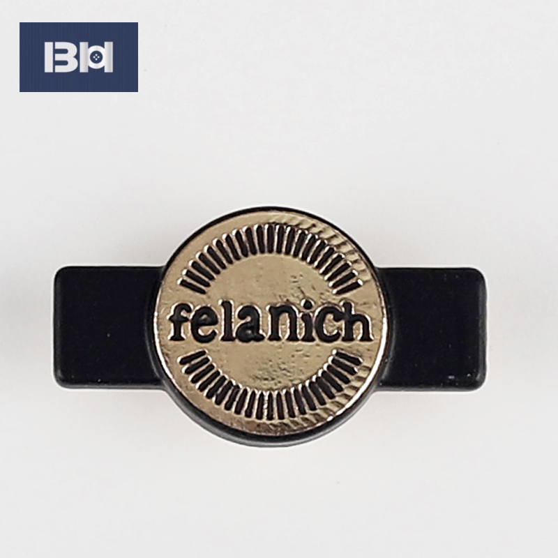 Fashion custom engraved logo to sew brand metal label for jeans alloy plate
