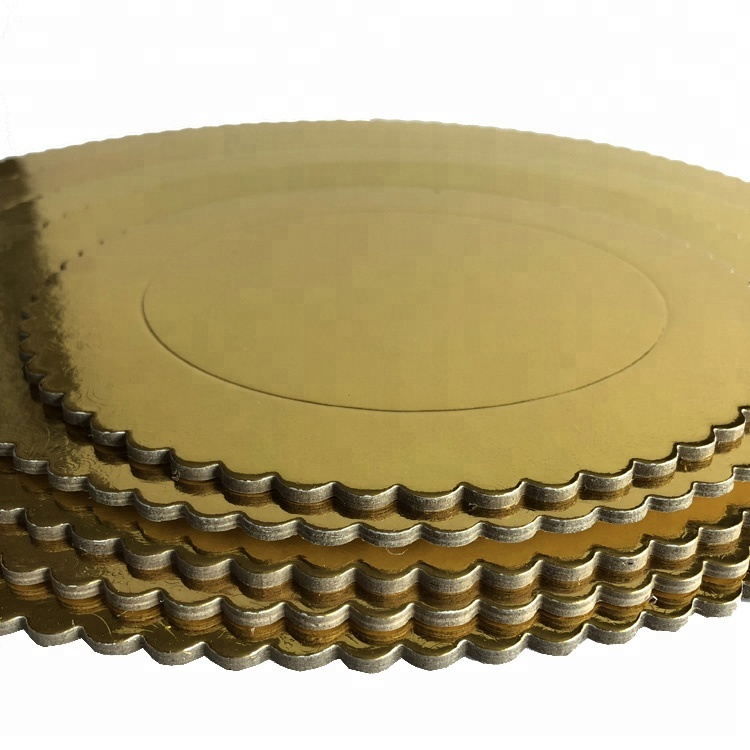 3mm thick round gold color paper cake boards