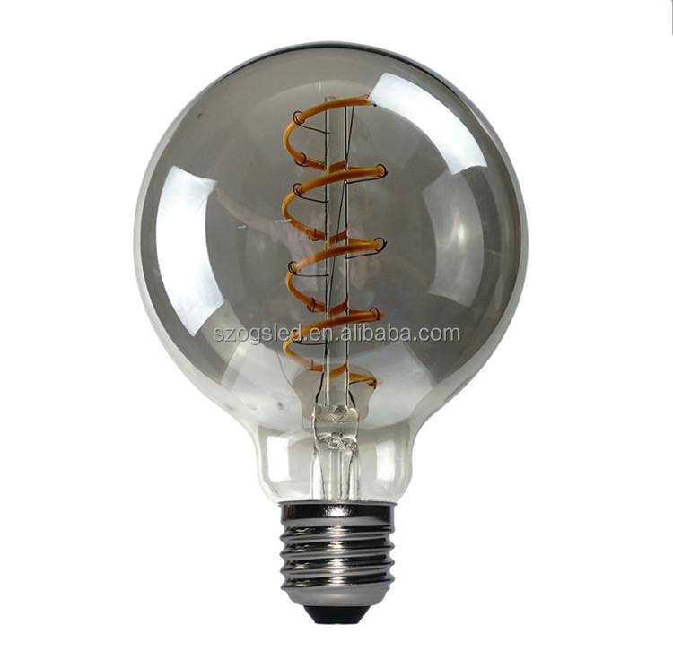 Винтажная Светодиодная лампа накаливания Эдисона, шарообразная лампа G80 с регулируемой яркостью, спиральная Гибкая Светодиодная лампа накаливания 2200k
