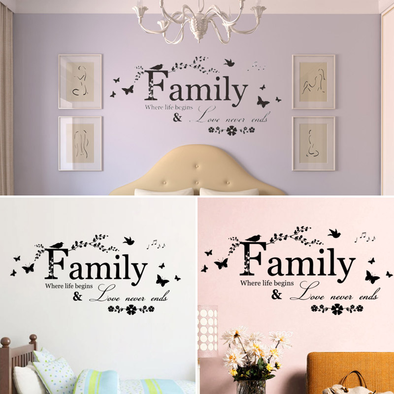 New Quality Natural Family Butterfly Flowers Branch Mural Home Decor Removable Art DIY Wall Sticker