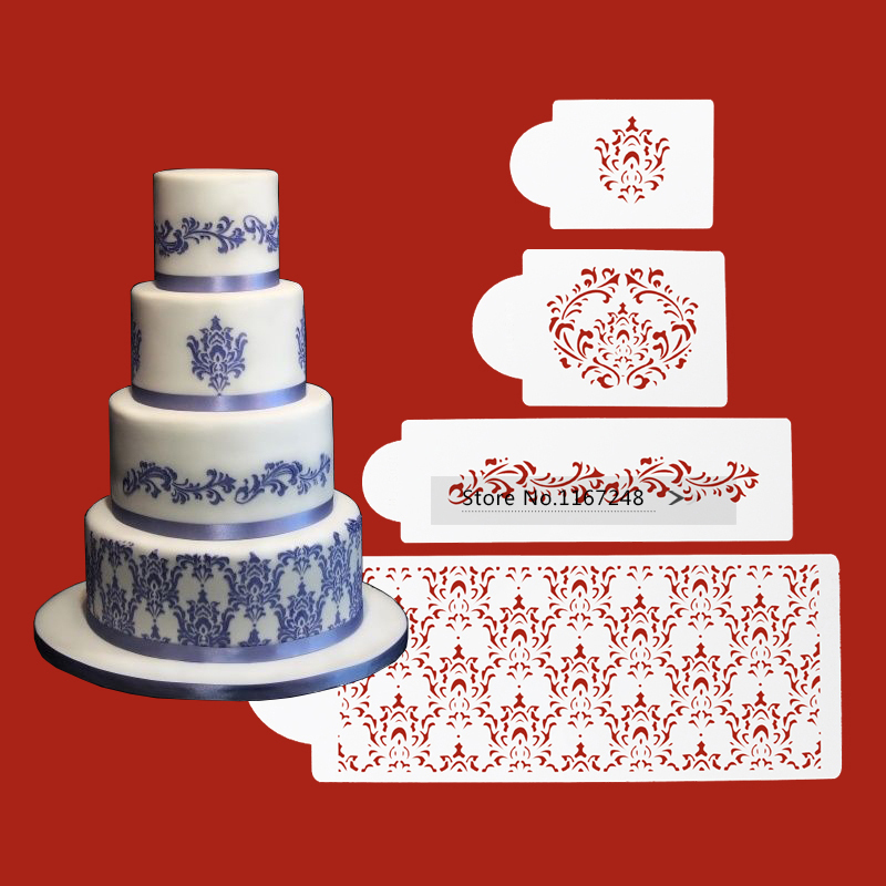 buy 4pcs lot wedding decoration cake stencil emboss frostings design stencil. Black Bedroom Furniture Sets. Home Design Ideas