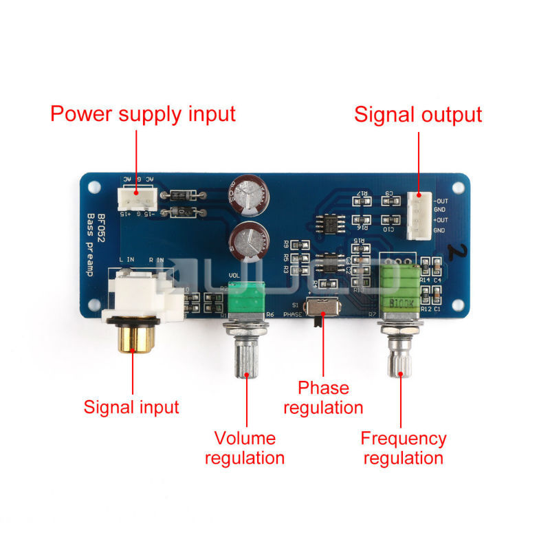 Low-Pass Filter Circuit Finished Board AC 6~13V/DC9~18V Audio Control  Module Sub Woofer frequency adjustment Amplifier Board
