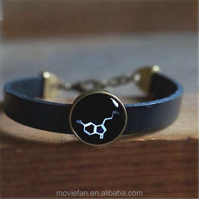 Serotonin bracelet Serotonin molecules leather black bracelet  Chemical Molecular Structure chemical jewelry  Gift for her Cabochon bracelet
