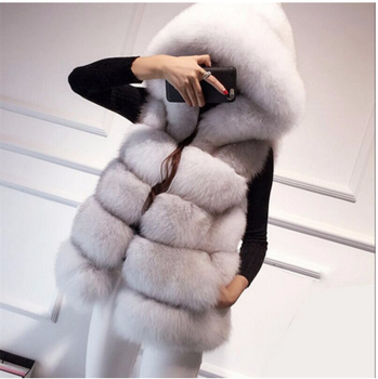Fashion Design Women Warm Fur Sleeveless Jacket Winter Grey White Hooded Fox Fur Vest