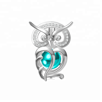 Rare Wonders Owl pendant 925 sterling silver Crystal Bling pearl cage jewelry unique hollow necklace for DIY