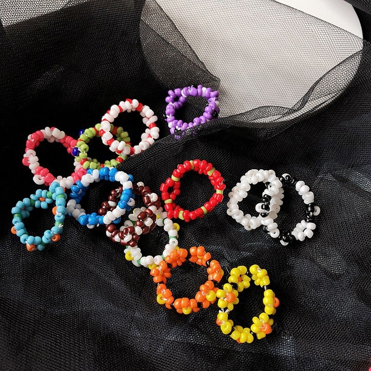 Beaded ring Colorful Beaded Initial ring- Handmade Fashionable