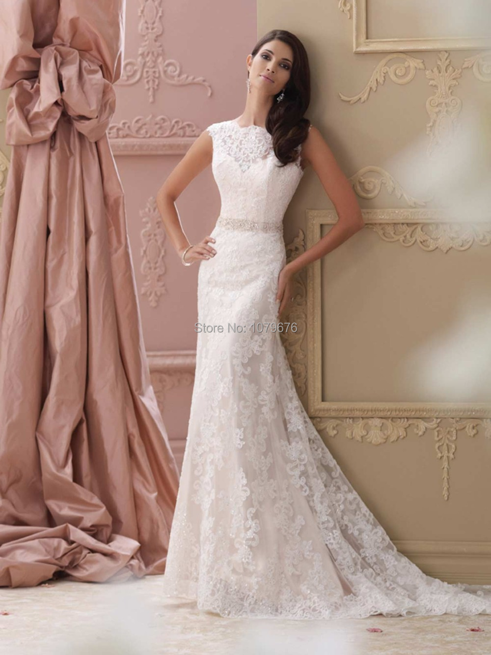 Vintage Lace Wedding Dress With Cap Sleeves 32