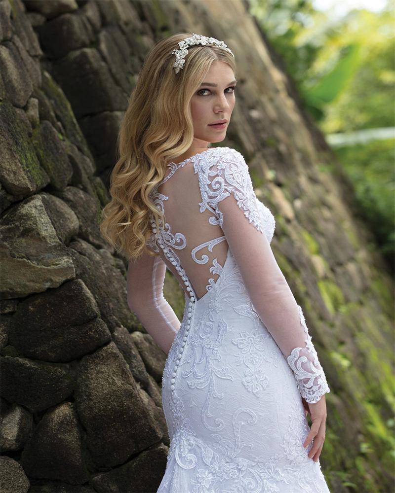 Свадебные платья, свадебные платья 2021, африканская мода, свадебные платья с юбкой-годе, кружевное свадебное платье с длинным рукавом, белое сексуальное на спине, A232