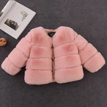 New Winter Girls Fur Coat Elegant Baby Girl Faux Fur Jackets And Coats Thick Warm Parka Kids Outerwear Clothes Girls Coat