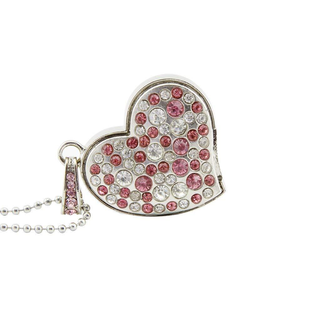 Jewelry Heart Shape 16GB USB 2.0 Flash Drive for Girls Pen Drive Diamond Necklace Memory Stick Cute Thumb Drive Pendant - USBSKY   USBSKY.NET