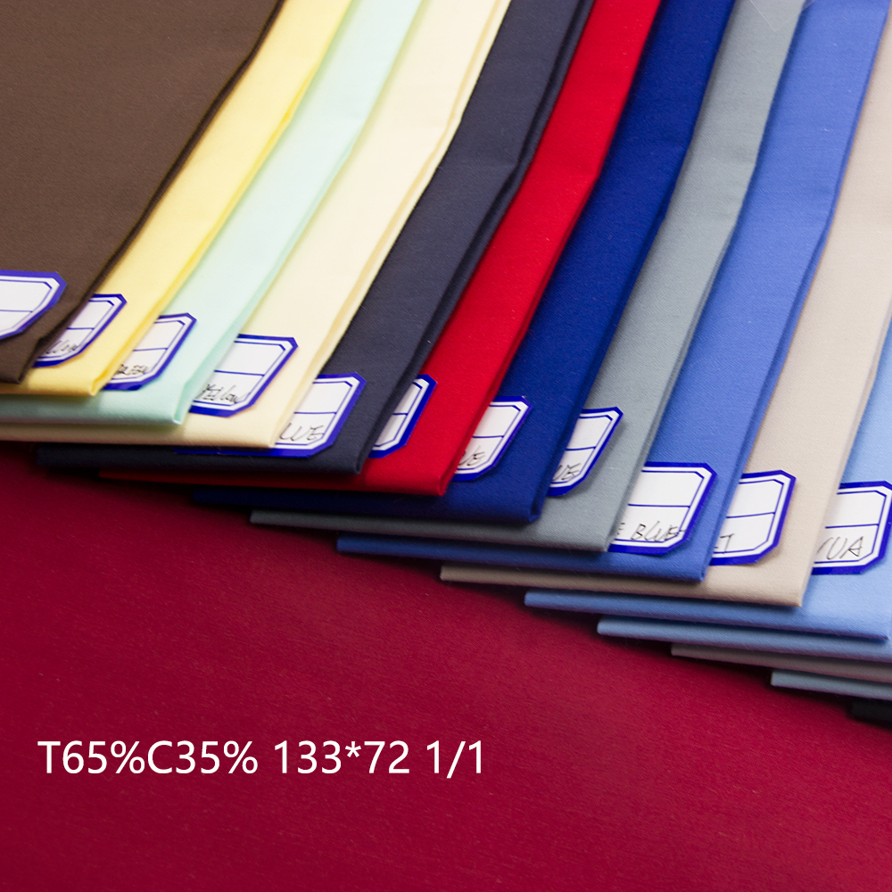 cheap price polyester 65 cotton 35 poplin fabric for shirt