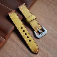 Роскошный брендовый ремешок для часов Ретро 20 мм 22 мм 24 мм ручной работы винтажный кожаный ремешок для часов Panerai ремешок для часов Ремни KZB02(Китай)