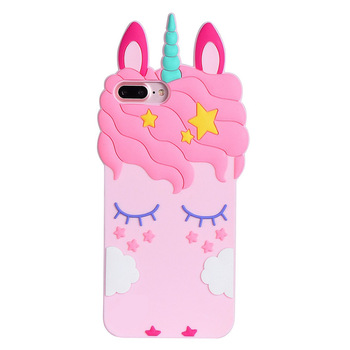 Unicorn phone case Pink Rubber Silicone Cute Horse with Long Eyelash Shape Phone Case for Girls