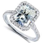 Prong setting 2carat 7x9mm radiant cut moissanite diamond center halo ring 18k genuine solid gold