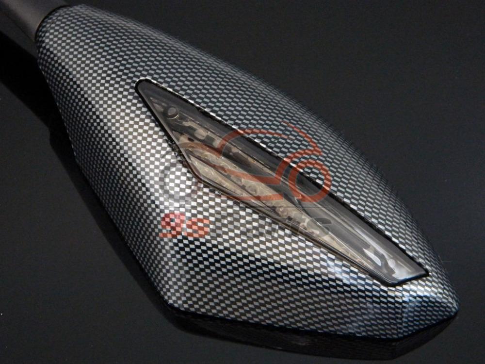 Углерод из светодиодов поворотники интегрированный заднего вида зеркала для ниндзя 250 300 ZX6R ZZR ZX14R ZX12R