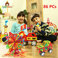 86PCS Regular Enlighten Bricks Educational Magnetic Designer Toy Square Triangle DIY Building Blocks Bricks Toys for