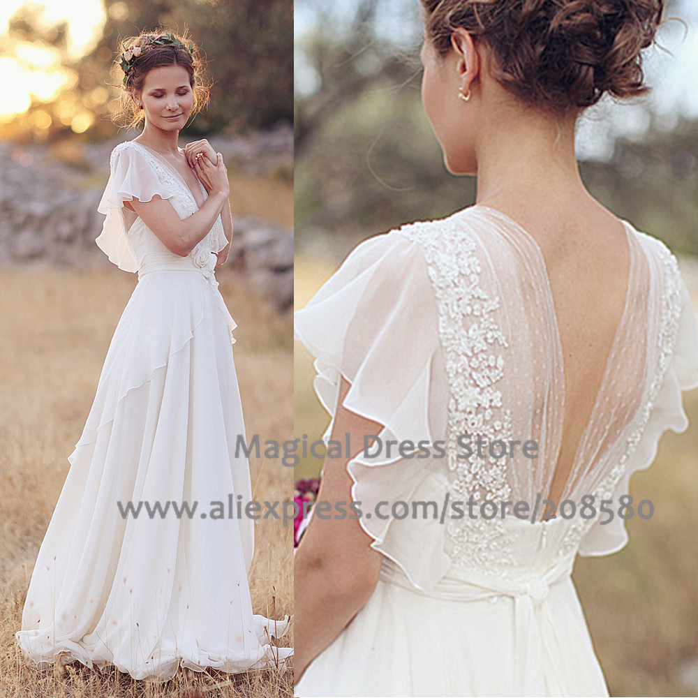 Country Western A Line Cheap Chiffon Bridal Gowns Beaded: Summer 2016 Country Western Wedding Dresses Plus Size V