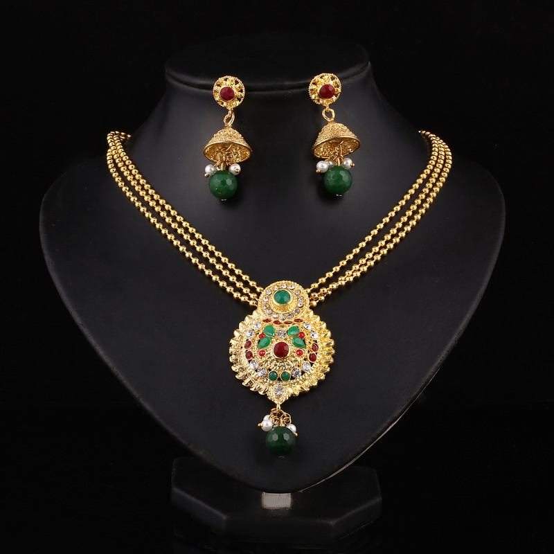 Indian Wedding Jewelry Sets 18K Real Gold Platinum Plated ...