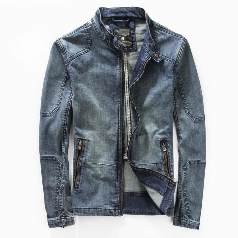 Mens denim leather jacket