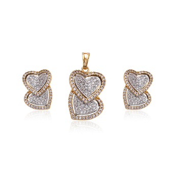 number 64344 New Alloy Heart Shape Jewelry Sets gold plated pendant earrings indian jewelry sets for women