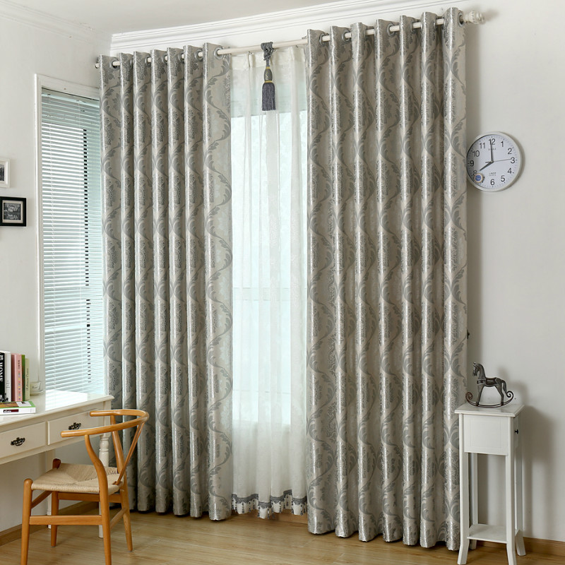 Silver Jacquard Curtains For Living Room Gray Classic European