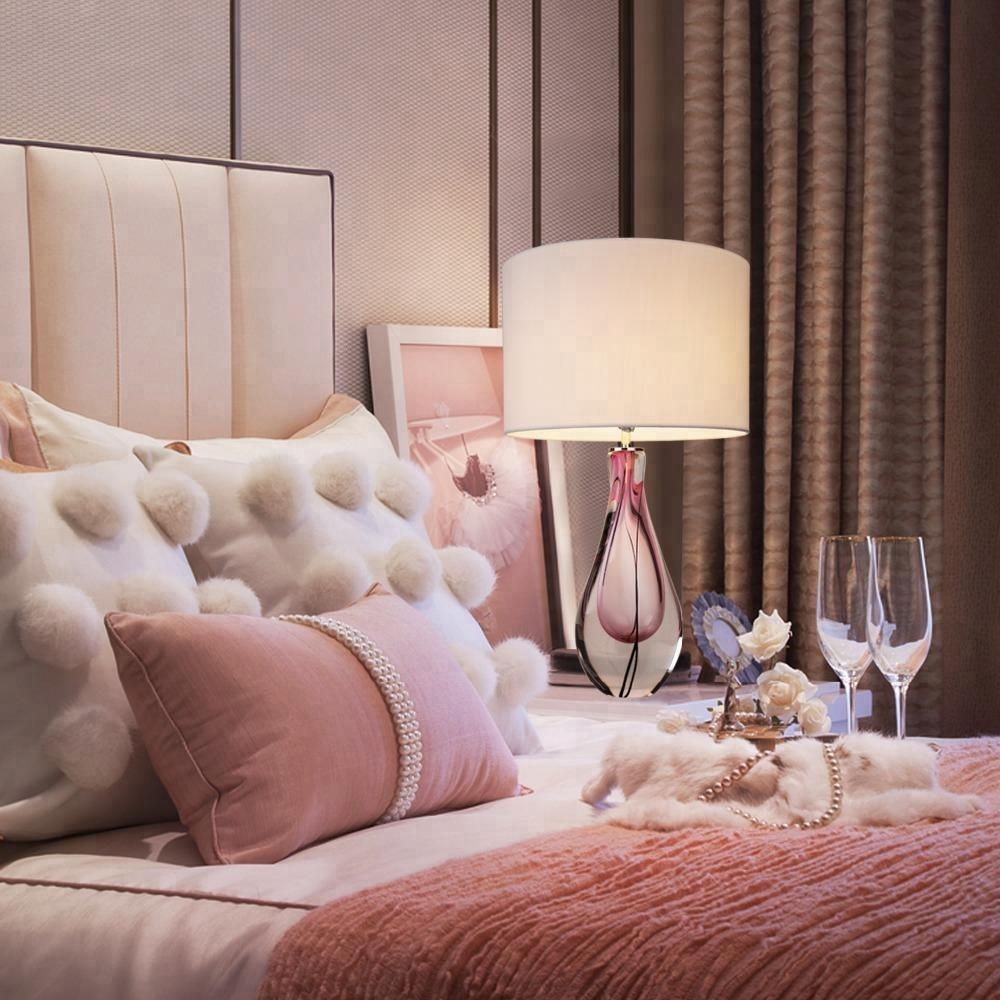 Уникальный дизайн, настольная лампа из дутого стекла в розовом цвете, 28 дюймов, с белым абажуром для гостиной