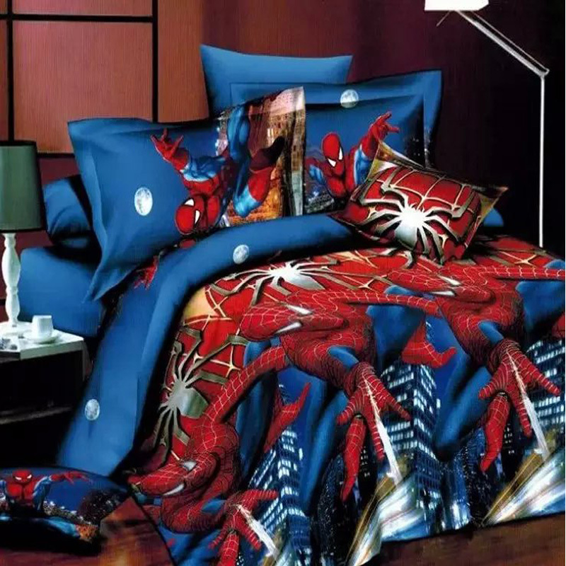 Spiderman Bedding Queen Size 100 Polyester Bed Sheet